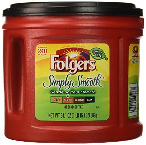 Folgers Simply Smooth Ground Coffee, Medium Roast, 31.1 oz.