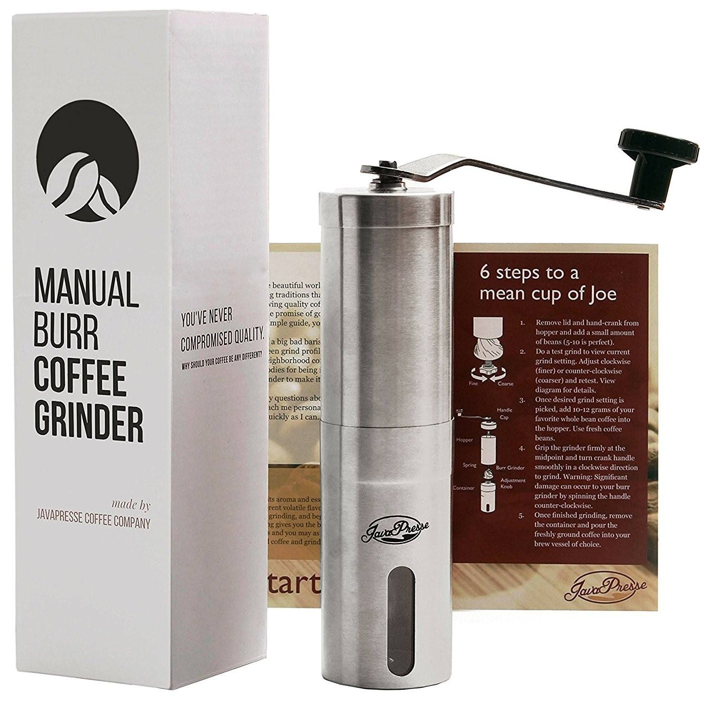 JavaPresse Manual Coffee Grinder, Conical Burr Mill, Brushed Stainless Steel 02
