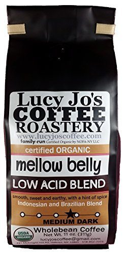 Lucy Jo's Coffee, Organic Mellow Belly Low Acid Blend, Whole Bean, 11 oz.