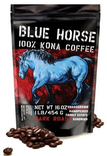 Blue Horse Kona Coffee, Dark Roast, Whole Bean