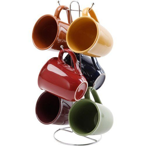 Gibson Contempo Hues 7 Piece 15-Ounce Mug Tree Set